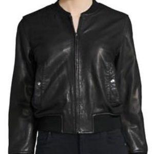 Isabel Marant Leather Bomber Jacket,Size 36